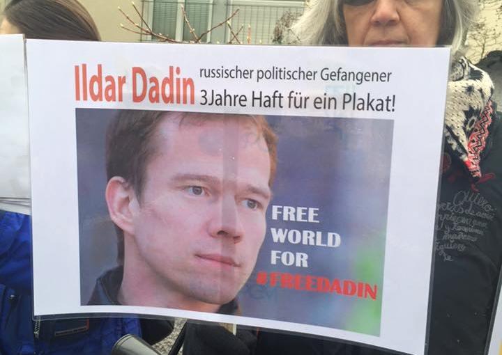 Demonstration für die Freilassung von Ildar Dadin vor dem Konsulat Russlands inBonn